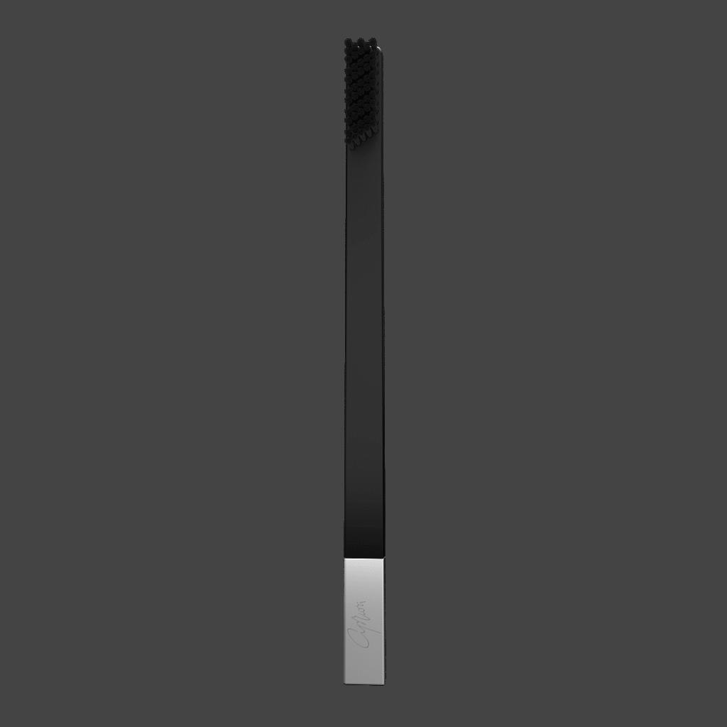 Дизайнерская зубная щётка SLIM by Apriori чёрная с серебром