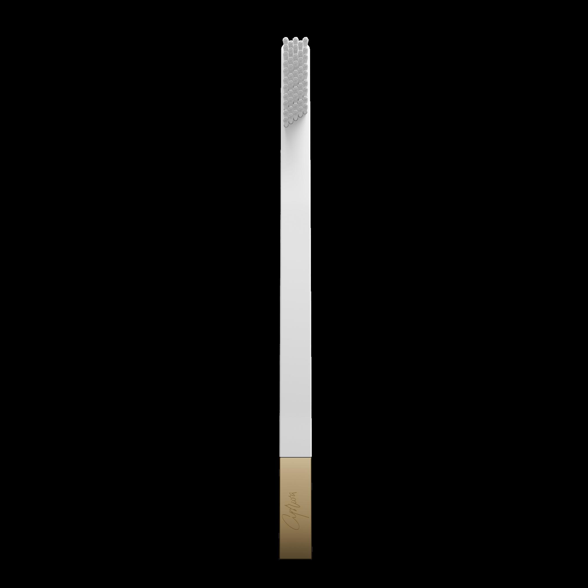 Дизайнерская белая зубная щетка SLIM by Apriori с золотом
