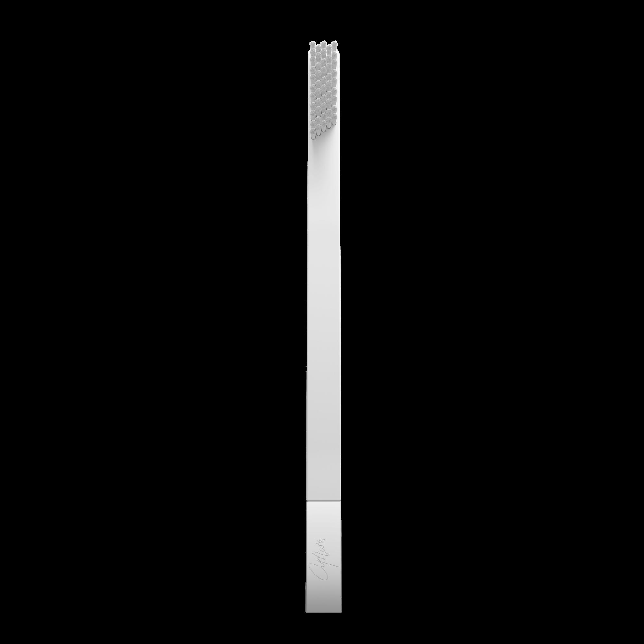 Дизайнерская зубная щетка белая с серебром SLIM by Apriori