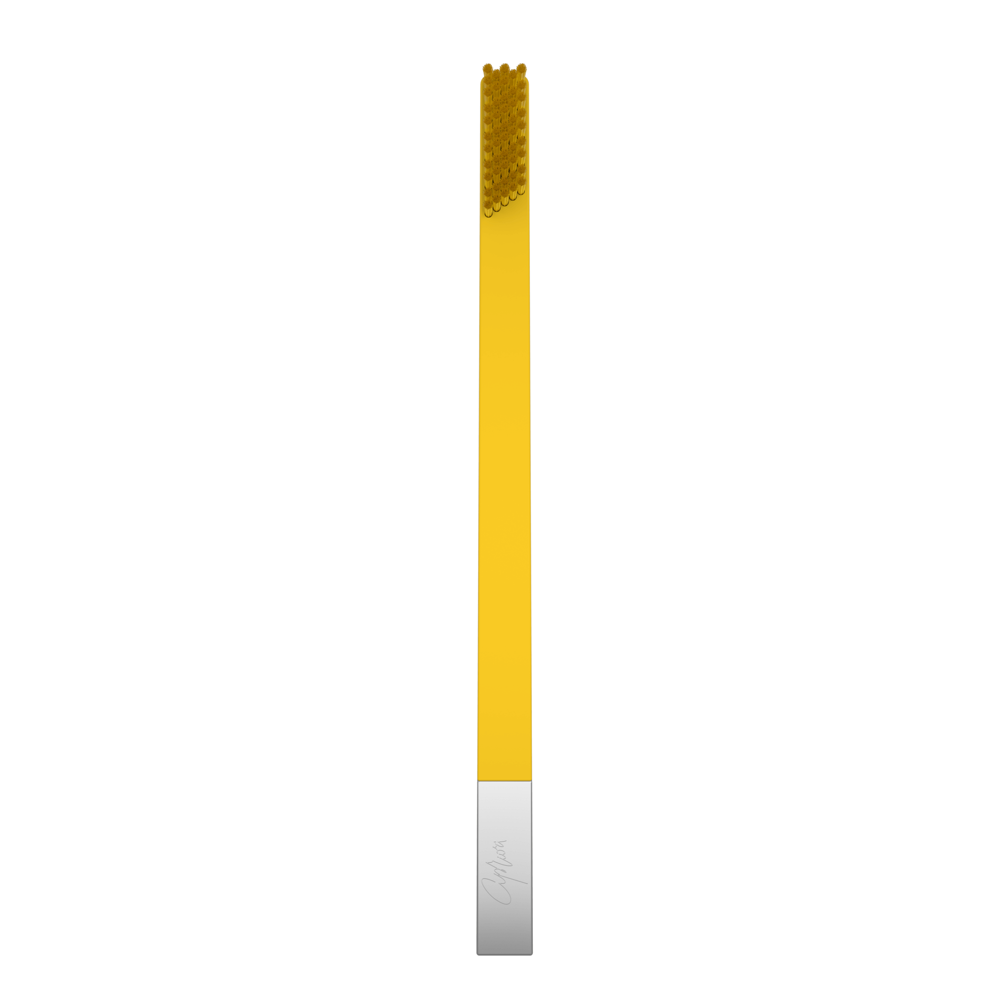 SLIM by Apriori yellow & silver disposable toothbrush