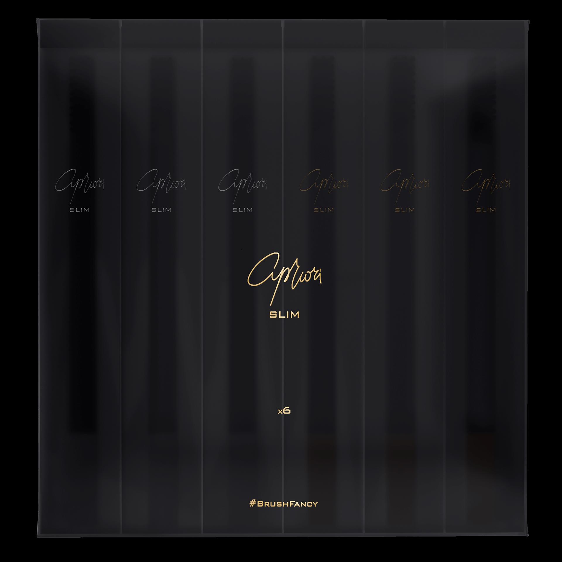 Набор дизайнерских зубных щёток SLIM by Apriori чёрных с золотом и серебром