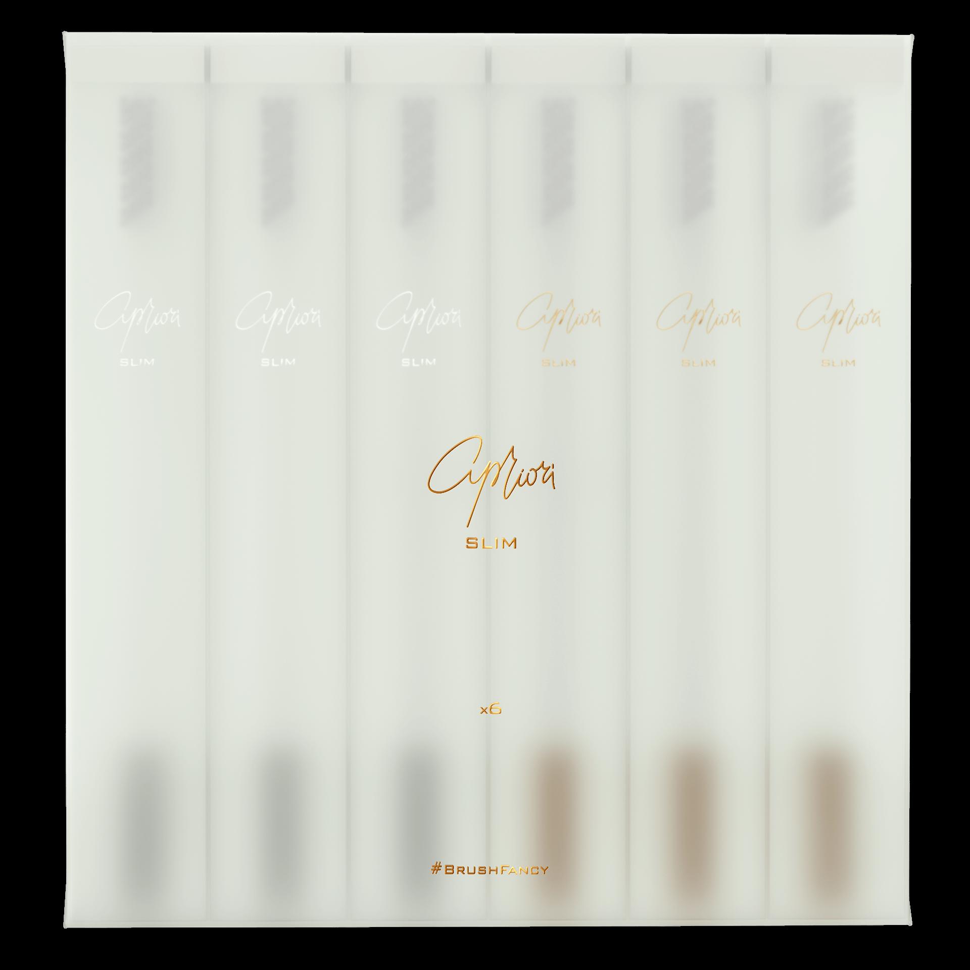 Набор дизайнерских зубных щёток SLIM by Apriori белых с золотом и серебром